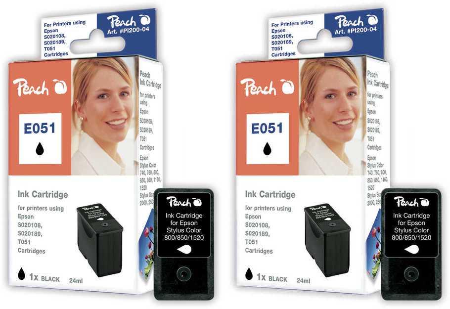 Peach  Doppelpack Tintenpatronen schwarz kompatibel zu Epson Stylus Color 760
