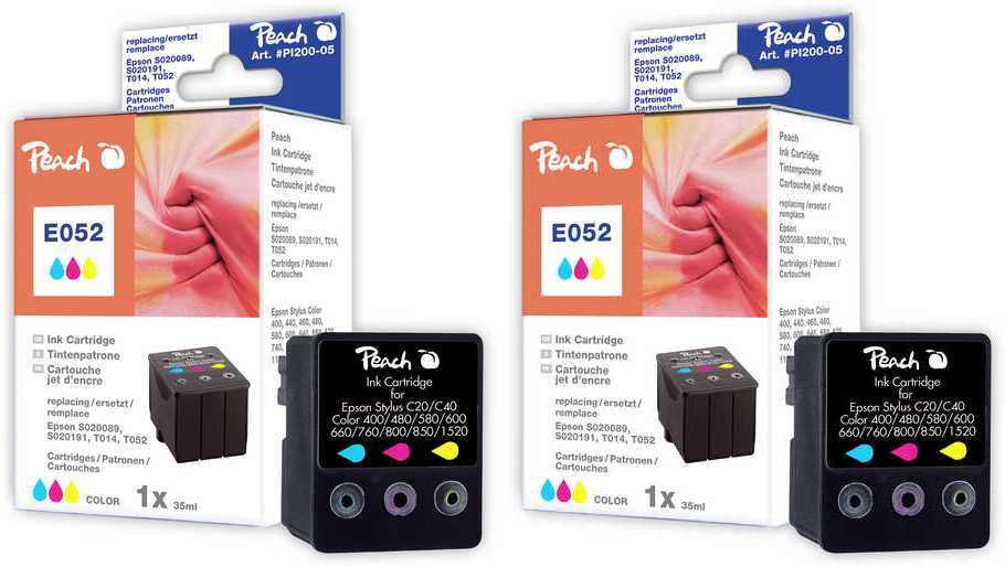 Peach  Doppelpack Tintenpatronen color kompatibel zu Epson Stylus Color 760