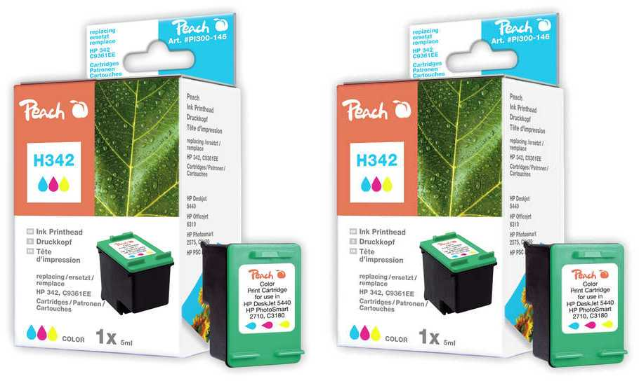 Peach  Doppelpack Druckköpfe color kompatibel zu HP DeskJet D 4155