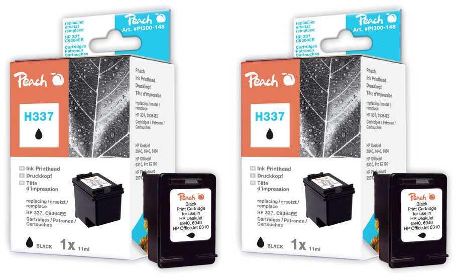 Peach  Doppelpack Druckköpfe schwarz kompatibel zu HP DeskJet D 4155