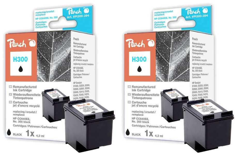 Peach  Doppelpack Druckköpfe schwarz kompatibel zu HP DeskJet D 5568
