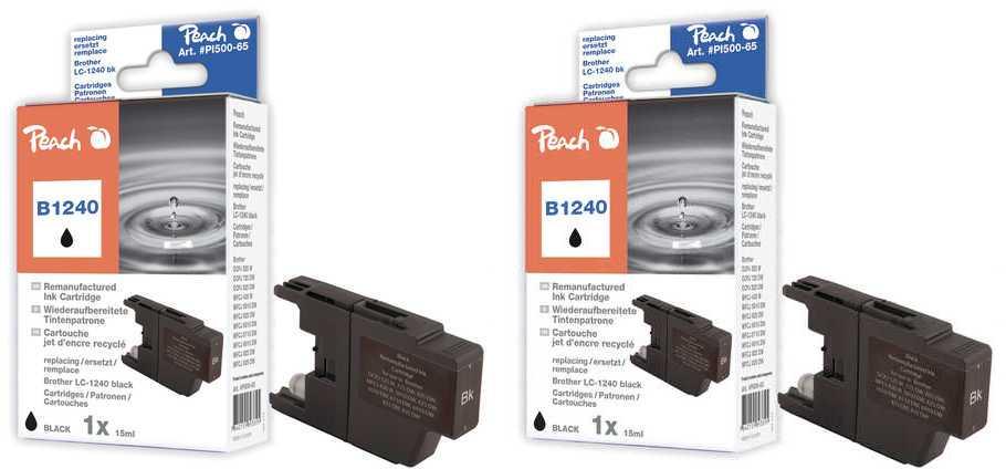 Peach  Doppelpack Tintenpatronen schwarz kompatibel zu Brother MFCJ 6910 DW