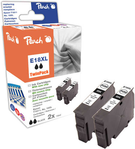 Peach  Doppelpack Tintenpatronen schwarz kompatibel zu Epson Expression Home XP-310 Series